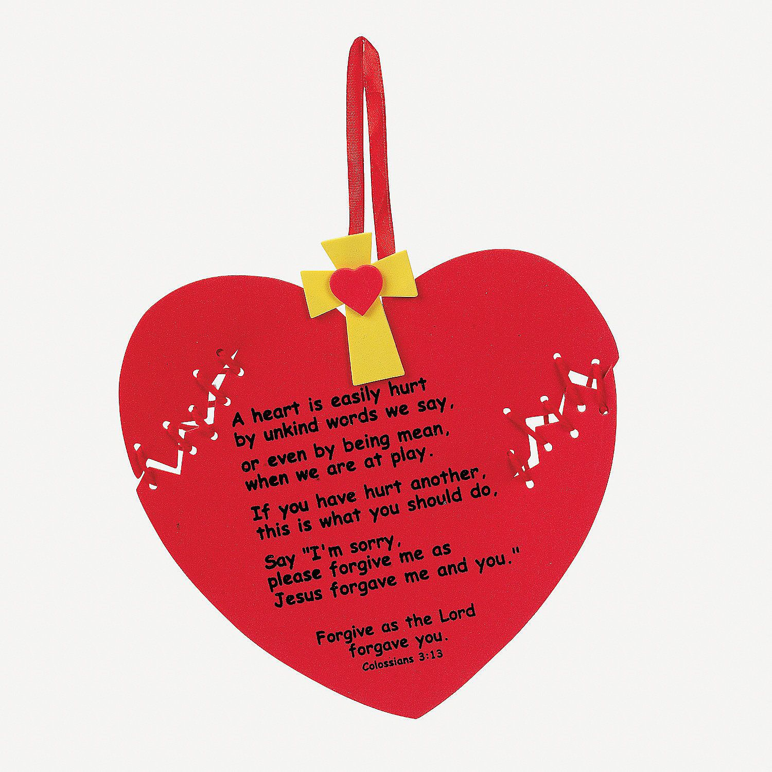 forgiveness heart craft kit kit discontinued from oriental trading but the poem and basic - Christian Valentine Crafts