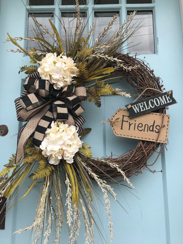 Photo of Ivory Hydrangea Floral Grapevine Wreath for Door, Wreath, wreaths for front door, farmhouse Wreath for front door, welcome Friends wreath