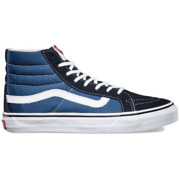 Vans Sk8-Hi Slim ($65) ❤ liked on Polyvore featuring shoes, sneakers, vans, blue, hi tops, flexible shoes, lace up shoes, blue high top sneakers and laced shoes