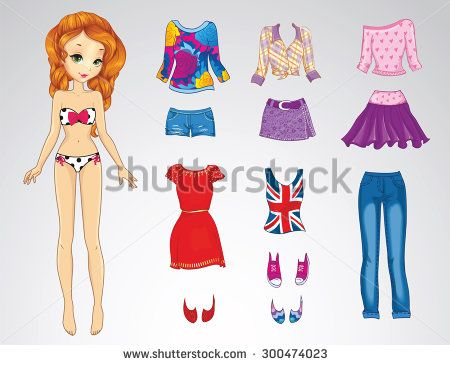 Paper Doll Of A Young Beautiful Teenager Girl With Red Hair And Clothes For Her