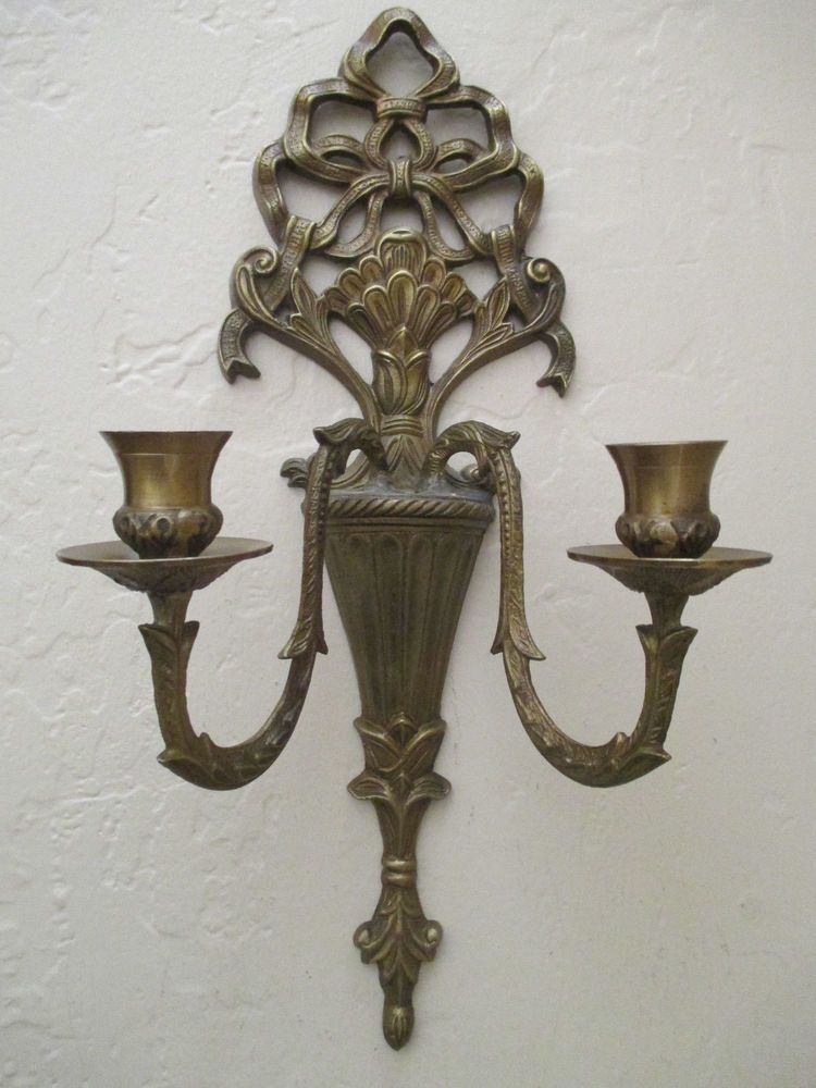 Vintage Dark Brass Double Arm Candle Holder Wall Sconce Victorian