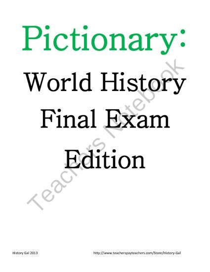 Pictionary: A World History EOC and Final Exam Review Game