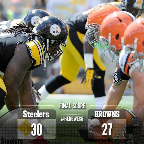 #HeartPounding ... Via Pittsburgh Steelers:  Final Score: Steelers 30, Browns 27 #HereWeGo