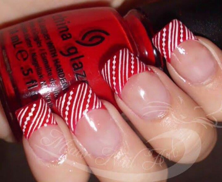 Get Miaw Nail Arts Christmasy Peppermint French In 5 Simple Steps