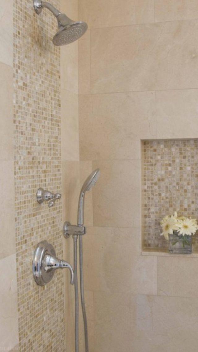 Like the mosaic tiles, but I'll choose a blue-green tiles. Awesome Shower  Tile Ideas Make Perfect Bathroom Designs Always : Minimalist Bathroom  Metalic Head ...