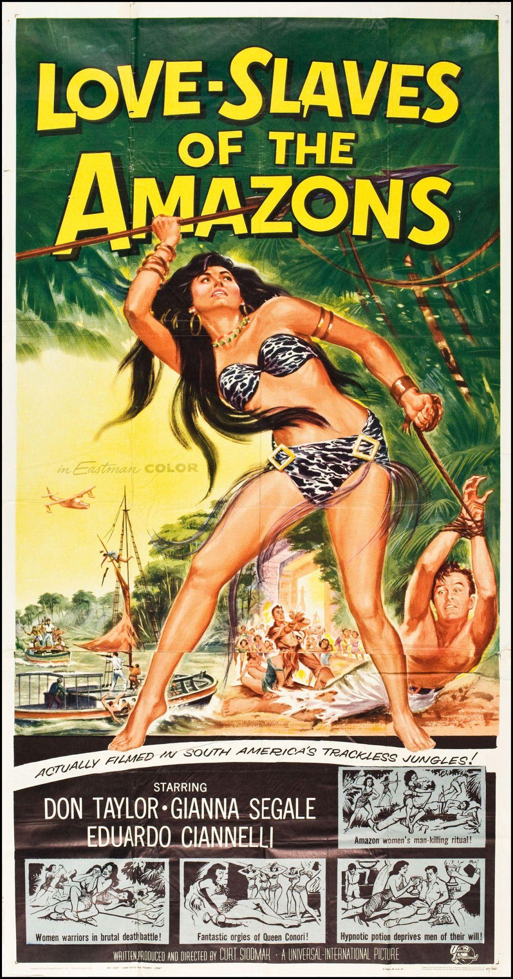 MOVIE FILM LOVE SLAVES AMAZONS JUNGLE SPEAR ADVENTURE FRAMED ART PRINT B12X5535