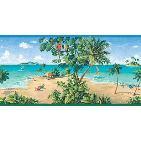 Blue Mountain Scenic Beach Wallpaper Border, Multicolor