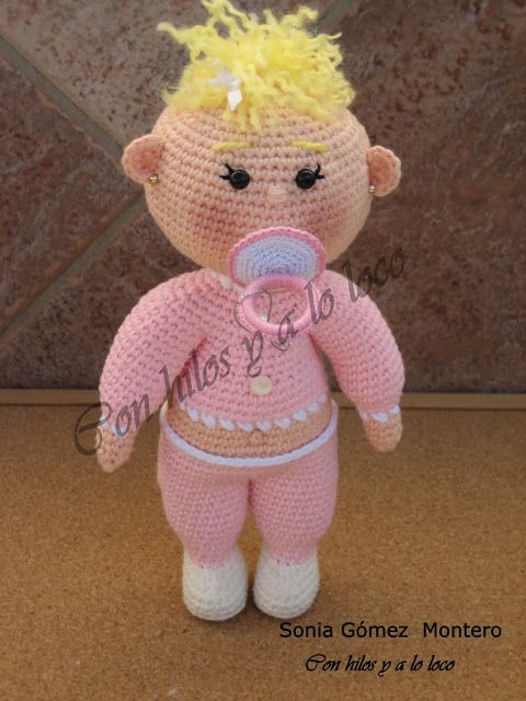 Muñeco Amigurumi Bebe con Chupete de Quita y Pon ( con imanes ...