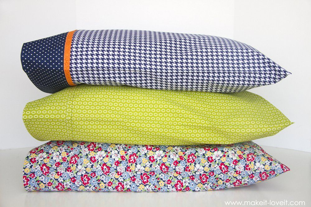 DIY Bed Pillow Cases: 3 sizes and 3 different styles (including the \