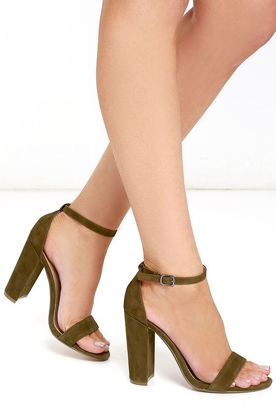 9e604b17537 Steve Madden Carrson Olive Suede Leather Ankle Strap Heels in 2019 ...