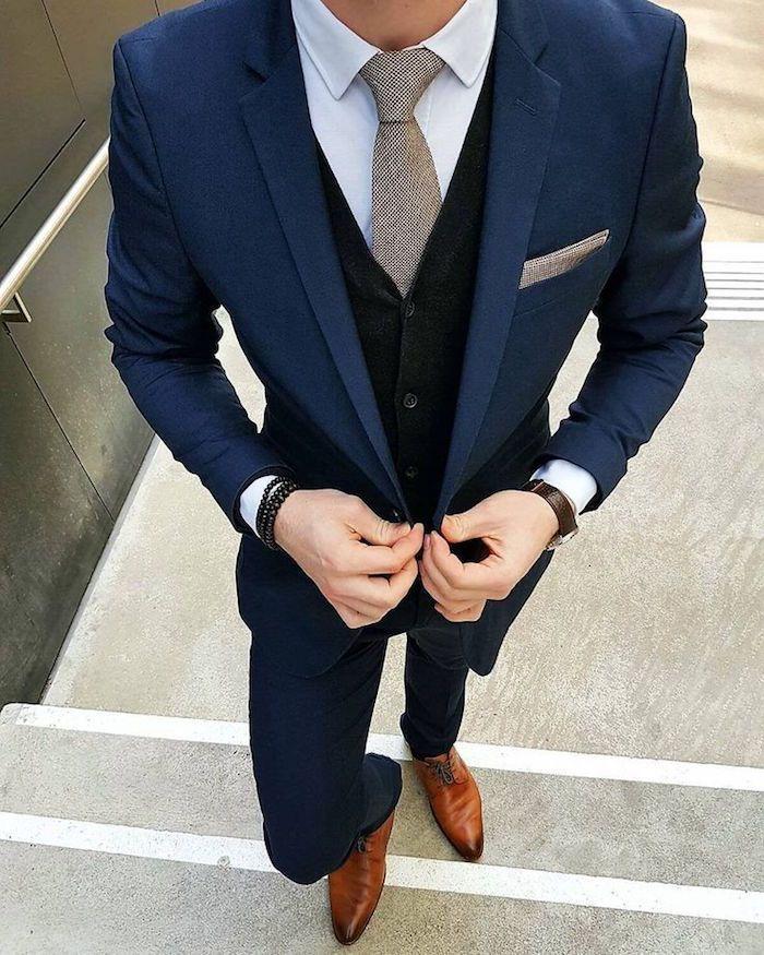 111d6f9eb71e smoking mariage zara costume homme 3 pièces bleu nuit   MensFashionAccessories