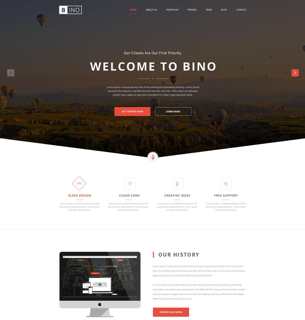 Bino Free Landing Page Website Template | Pinterest
