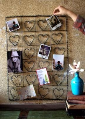 wire heart photo/Card Holder eclectic frames