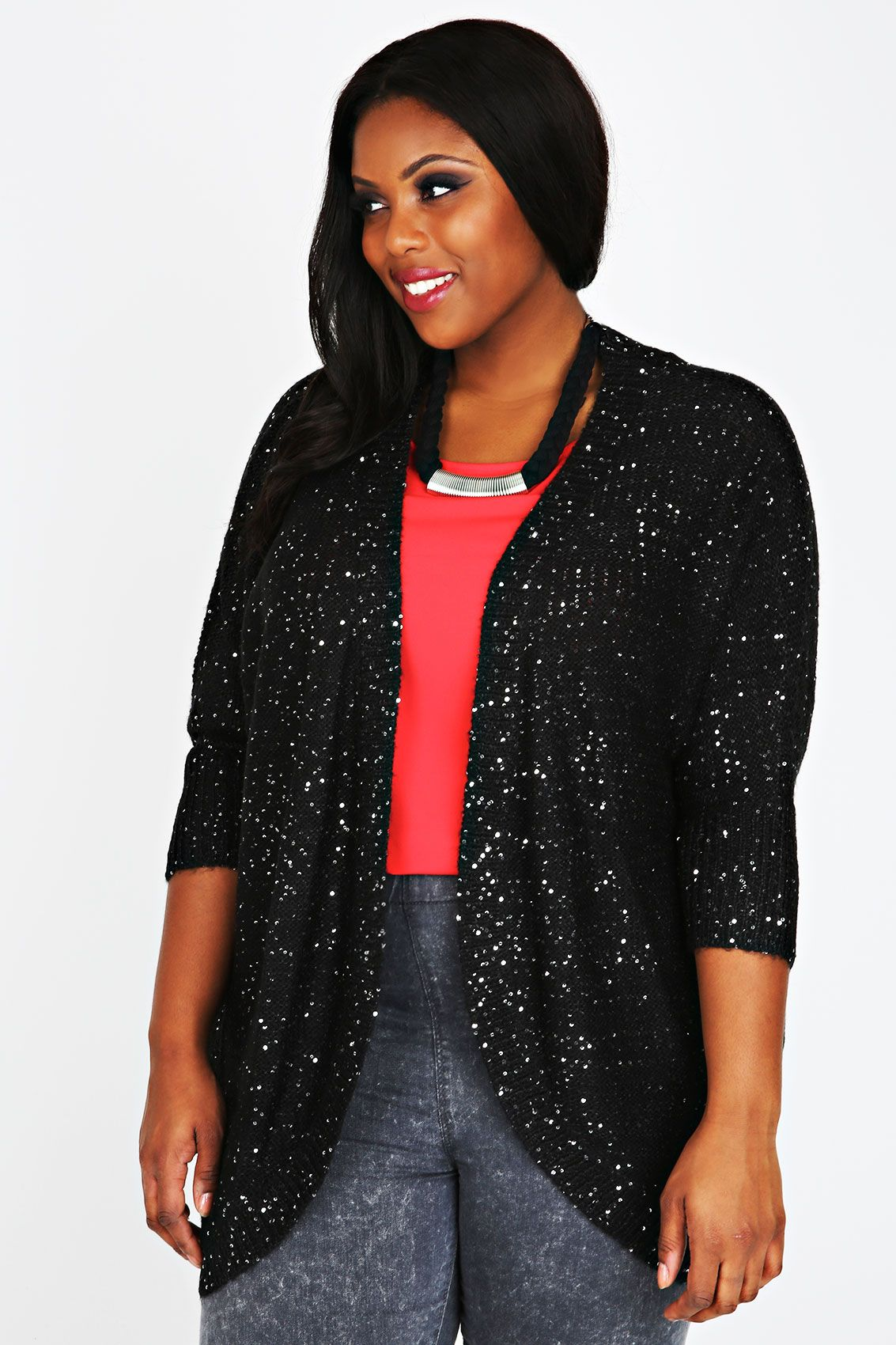 Black Edge To Edge Waterfall Jersey Cardigan | Black sequins ...