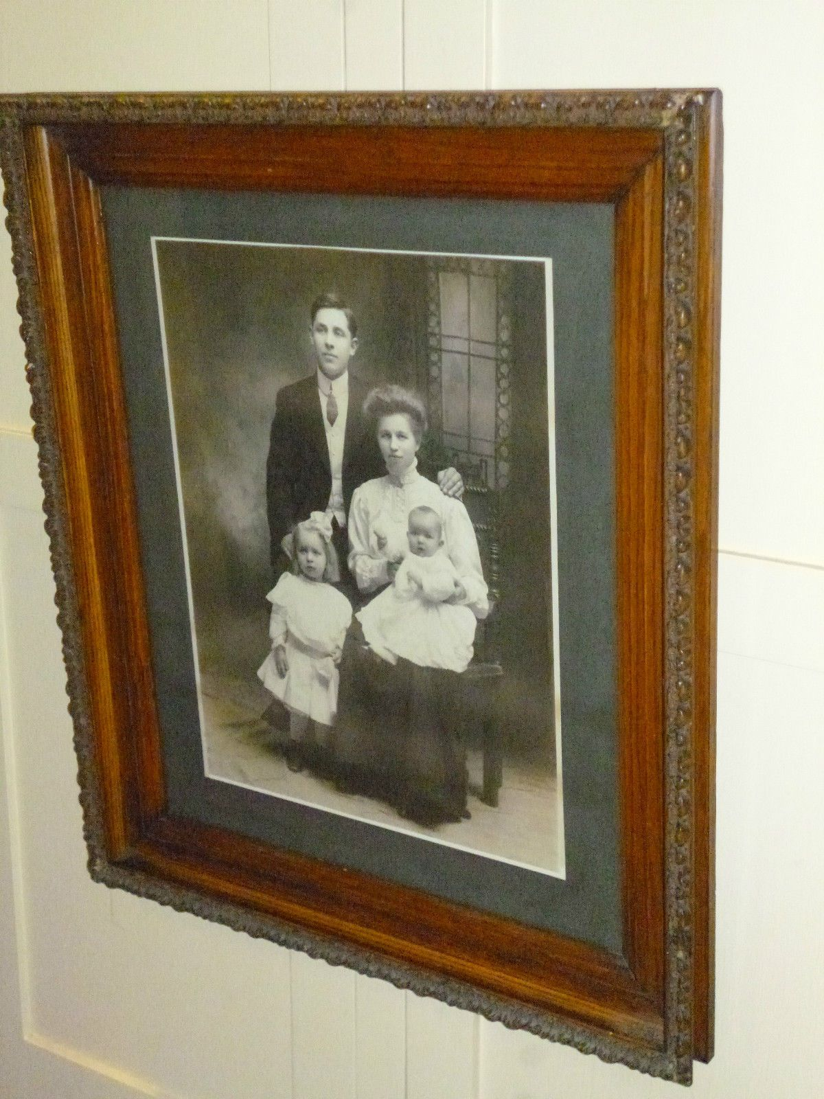 Antique Solid Oak Detailed Frame Family Portrait 25 X 30