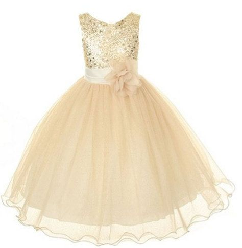 Gold Sequins Tulle Flower Girl Dress Silver Ivory White Country Wedding Baby Girls Dress Rustic Baby Girl Dress 2014