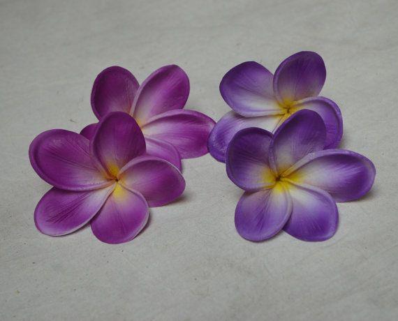 Real Touch Purple Plumerias Lavender White Purple Silk Plumerias ...