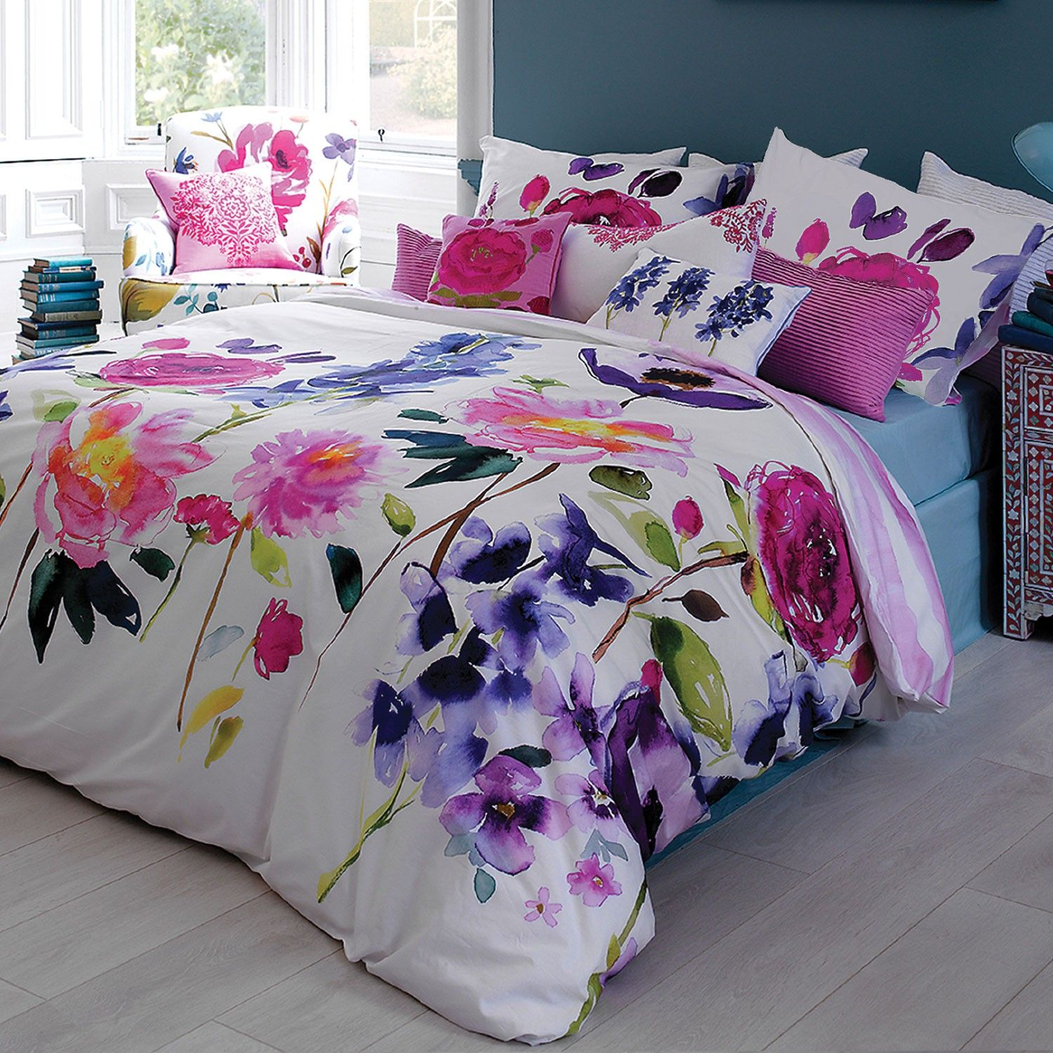 Floral cotton bed sheets - Taransay Duvet Cover Floral Bedding Bluebellgray