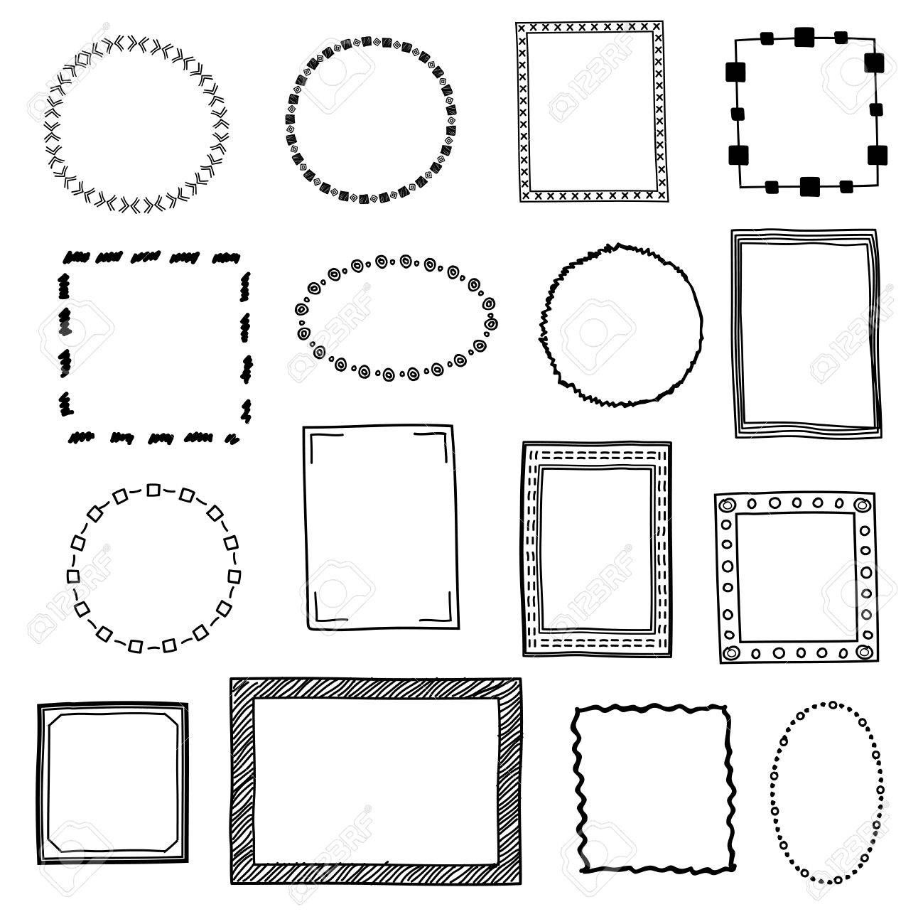 Hand Drawn Doodle Frames Borders Vector Set Frame Sketch For Decoration Drawing Frames In Form Square And Cir Doodle Frames Drawing Frames How To Draw Hands