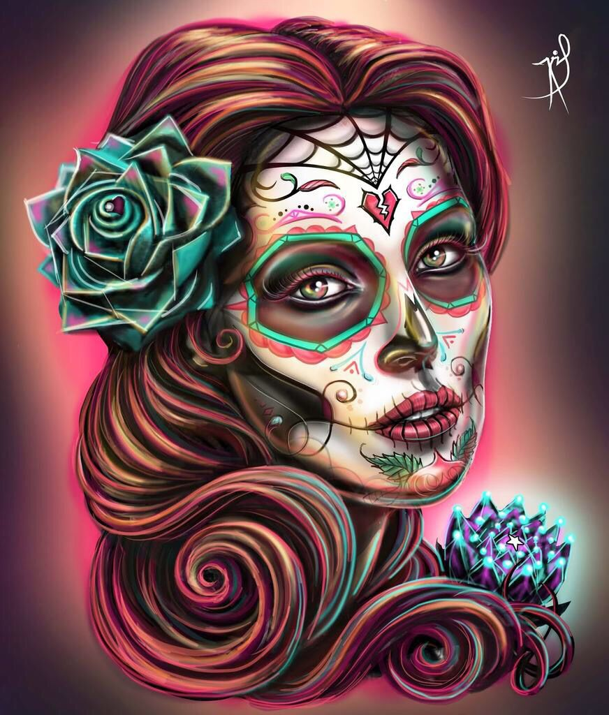 Beautiful Sugar skull art, Day of the dead art, Day of