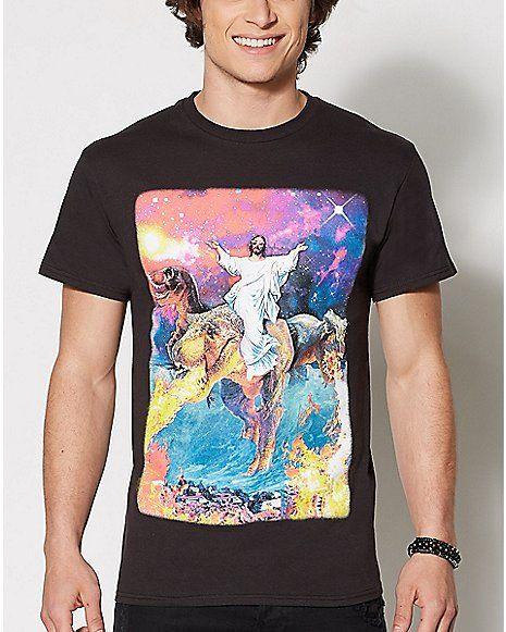 eb744d74 Jesus Dinosaur Galaxy T Shirt - Spencer's | Clothes | Galaxy t shirt ...