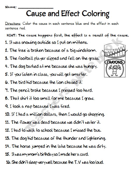 Cause and Effect coloring I would reword the hint Children might – Cause and Effect Worksheets for 5th Grade