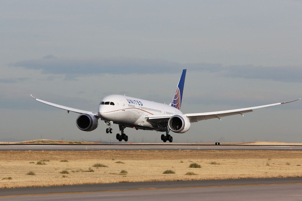 United's new 787 Dreamliner departs Denver International Airport for Tokyo, Japan.