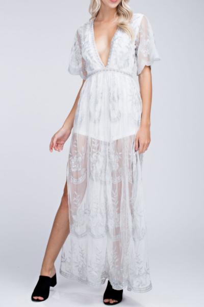 1634d56efa2 Preorder - Bardot Lace Maxi Romper - White And Silver