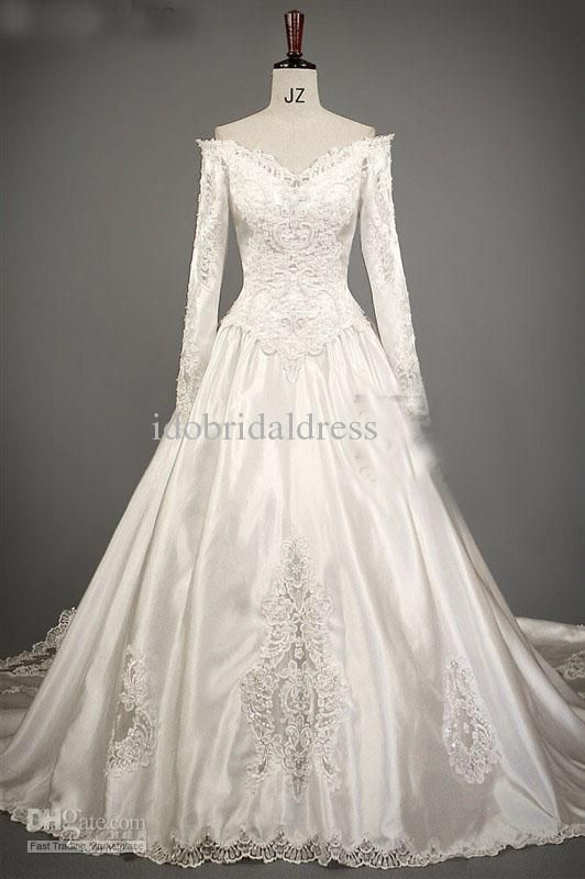 Wholesale Retro Long Sleeve Lace Applique V Neck Pearl Satin Lebanon Africa Wedding Dress Bridal Gown, Free shipping, $305.2-327.0/Piece | DHgate