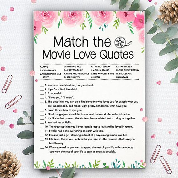 Match the Movie Love Quotes, Bridal Shower Games, Instant ...