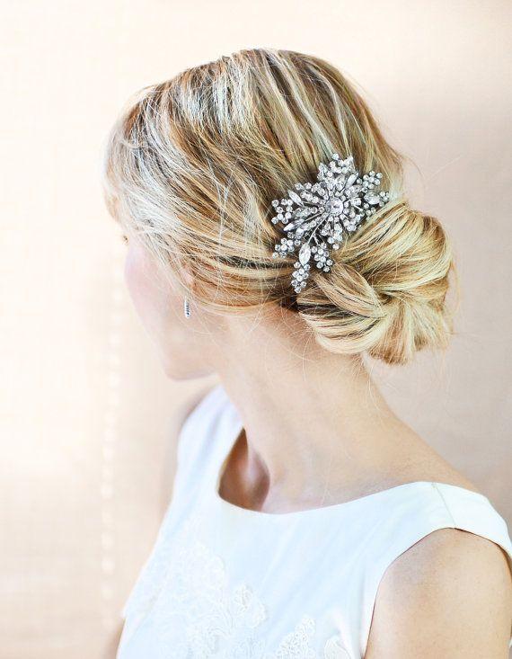 Vintage Style Hair Comb Bridal Haircomb Wedding By Lottiedadesigns 65 00 Crystal Hair Comb Crystal Hair Hair Comb Wedding