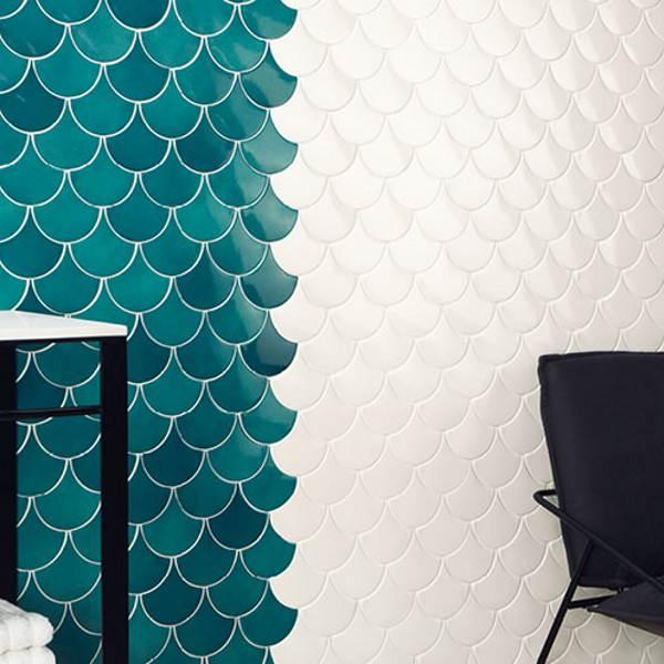 Squama Rice White Glossy White Body Fish Scale Wall Tile 12 7 6 2 In 2020 White Fish Scale Tile Wall Tiles Fish Scale Tile