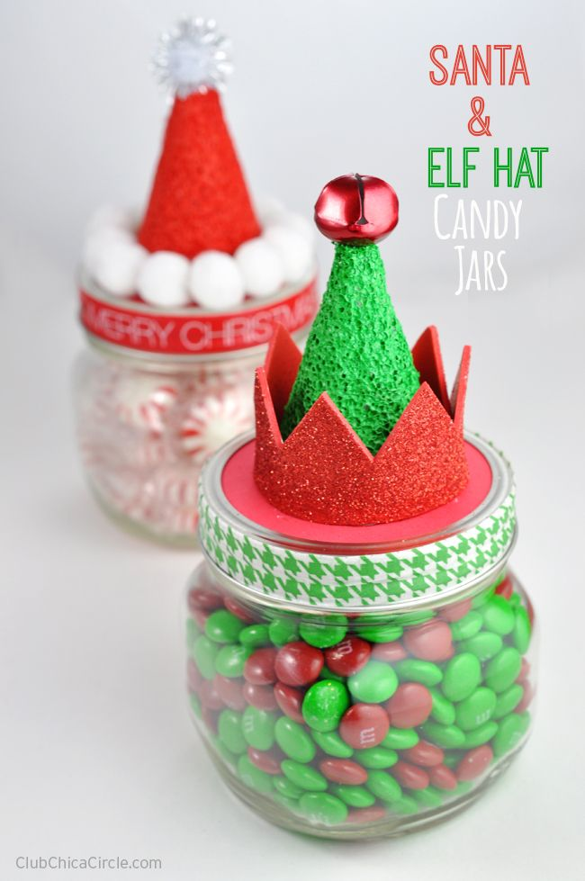 Santa and elf hat candy jars homemade holiday gift idea for Homemade christmas candy gift ideas