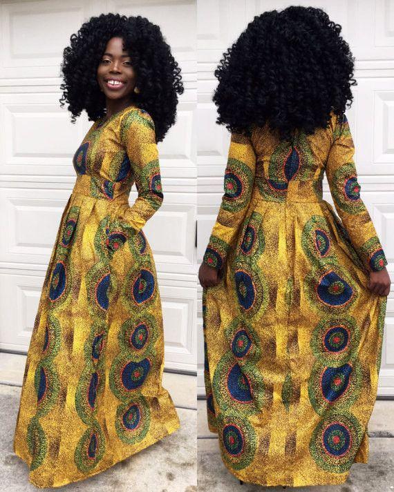 Arewa yellow long sleeve dress
