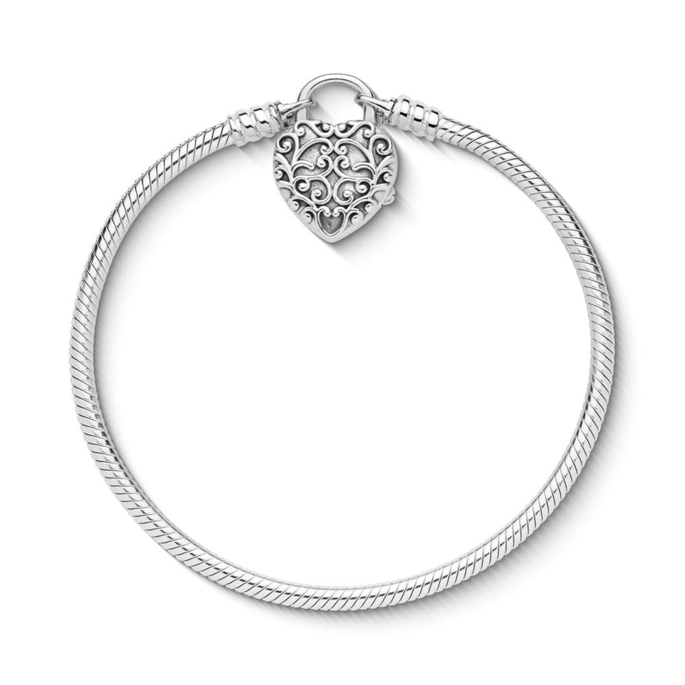 Smooth Silver Padlock Bracelet Regal Heart Autumn Collection 2018 Us Pandora Net Heart Padlocks Snake Chain Bracelets Bracelets
