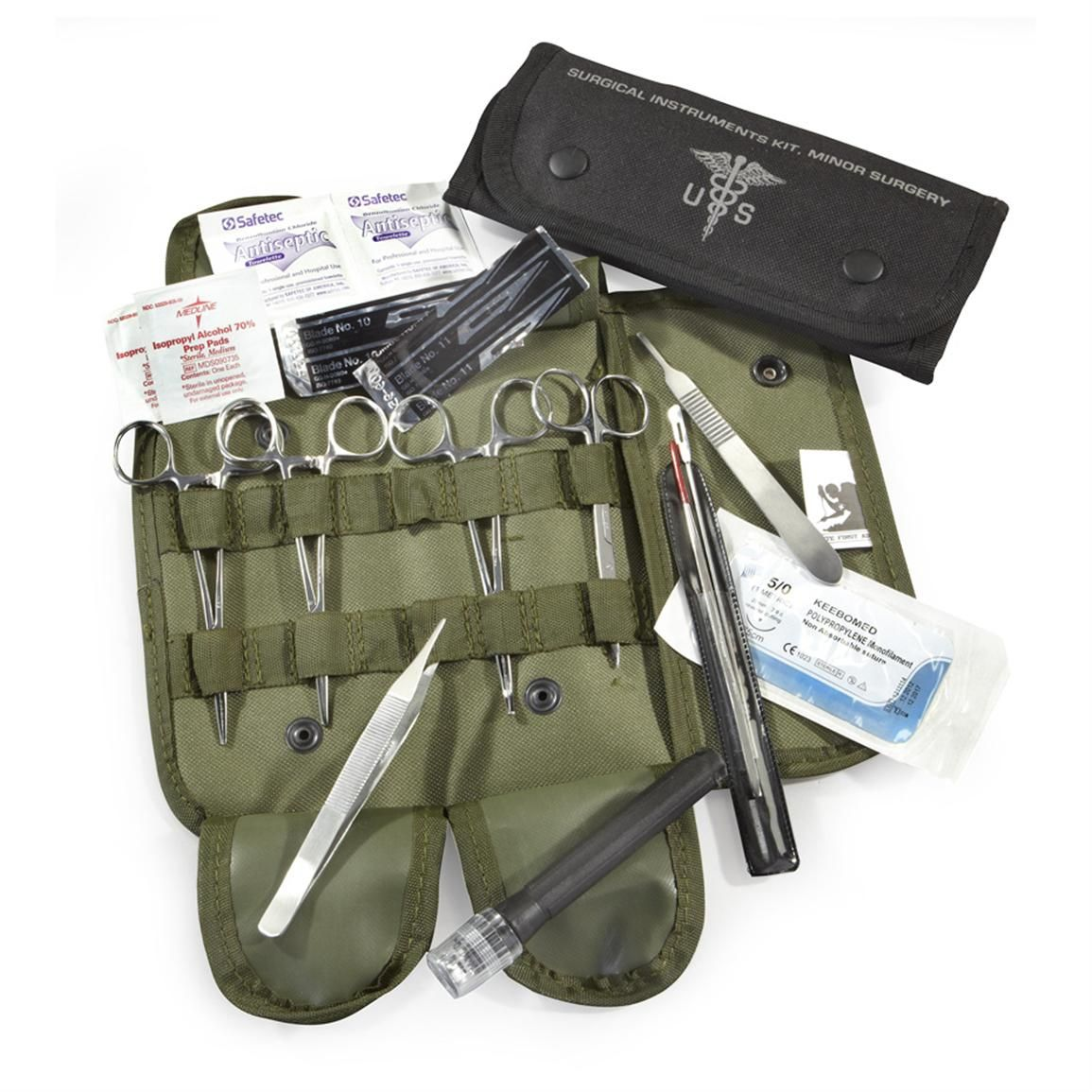 Elite Military First Aid Surgical Kit, 16 Piece, Olive