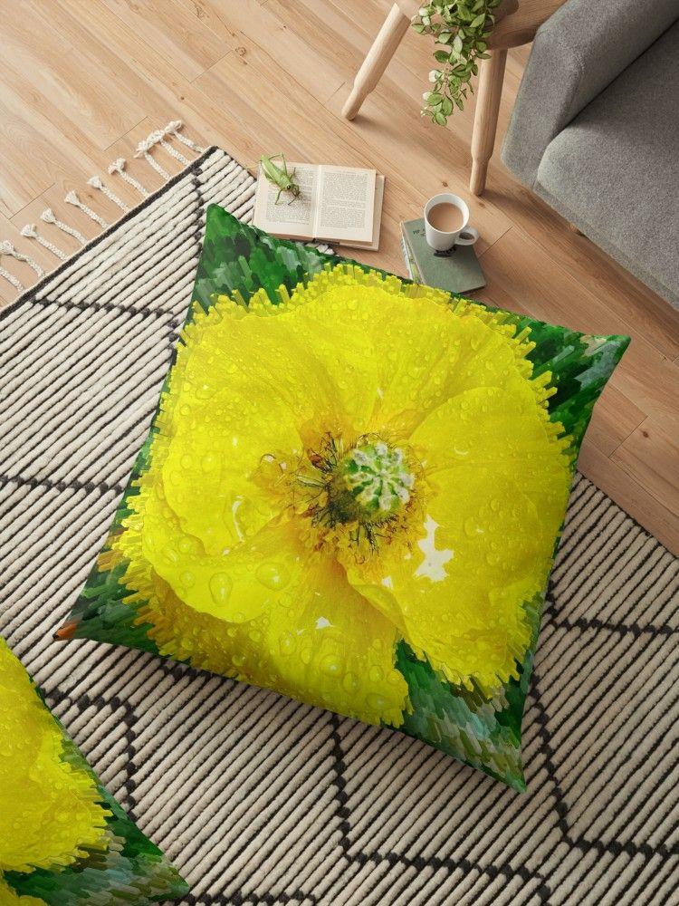 Gelbe Mohnblume Bodenkissen Von Marionsart Bodenkissen Kissen Bett Kissen
