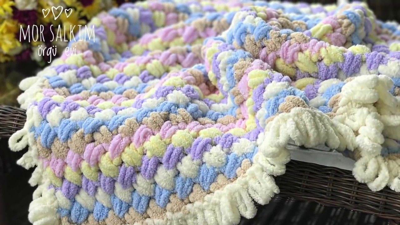 Ajurlu Hasır Örgü Bebek Battaniyesi Modeli