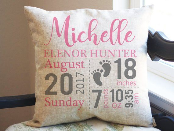 Personalized Throw Pillow Birth Stats