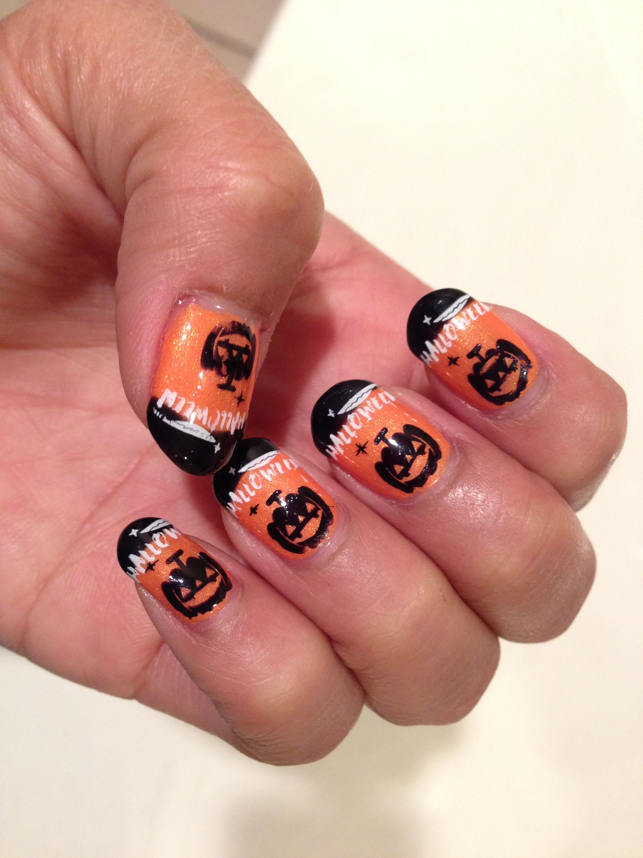 Happy Halloween. Gelish gel polish with konad art stamping ...