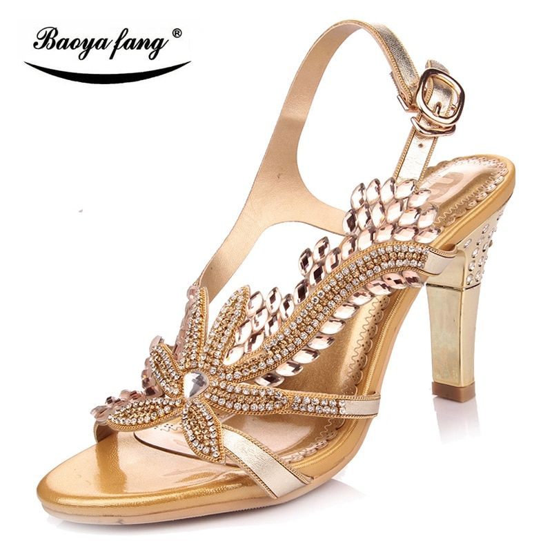 7c1c88b2b8a0a6 New 2017 Summer sandals real leather high heel girls Party sandals fashion  shoes female sandals golden