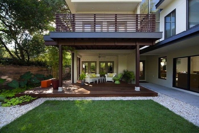 The New Gravel Backyard 10 Inspiring Landscape Designs With Images Porch Design Modern Patio Modern Deck