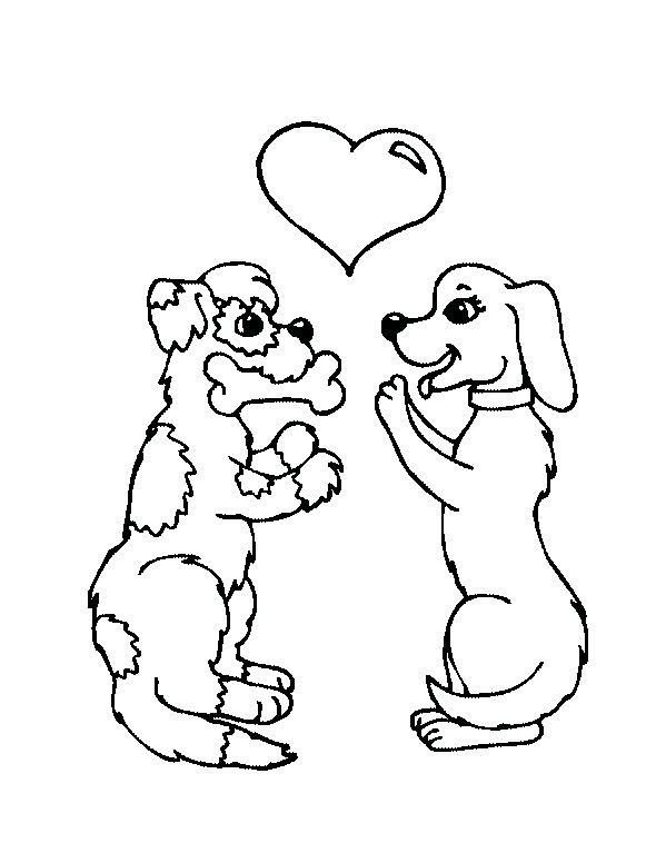 Fall In Love With Each Other Dog Coloring For Kids Dog Coloring