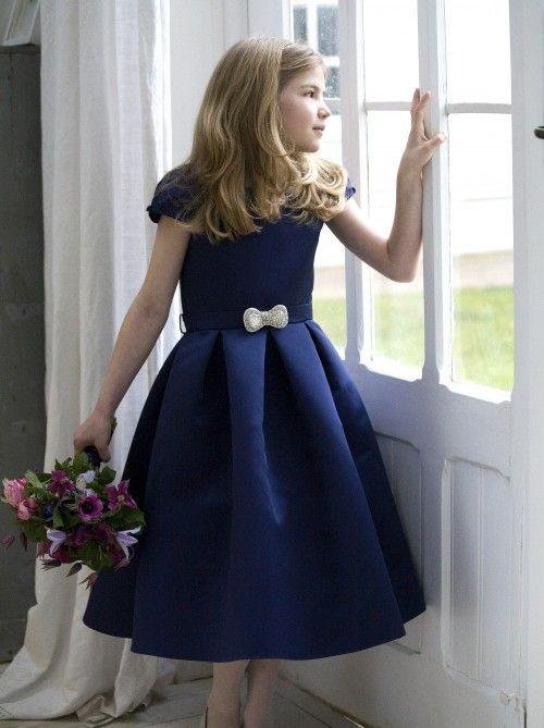 Navy satin flower girl or bridesmaid dresses by designer