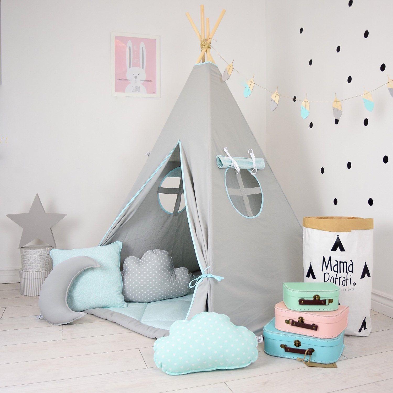 Mint Tent Mint Teepee Grey Teepee Play Tent Light Grey