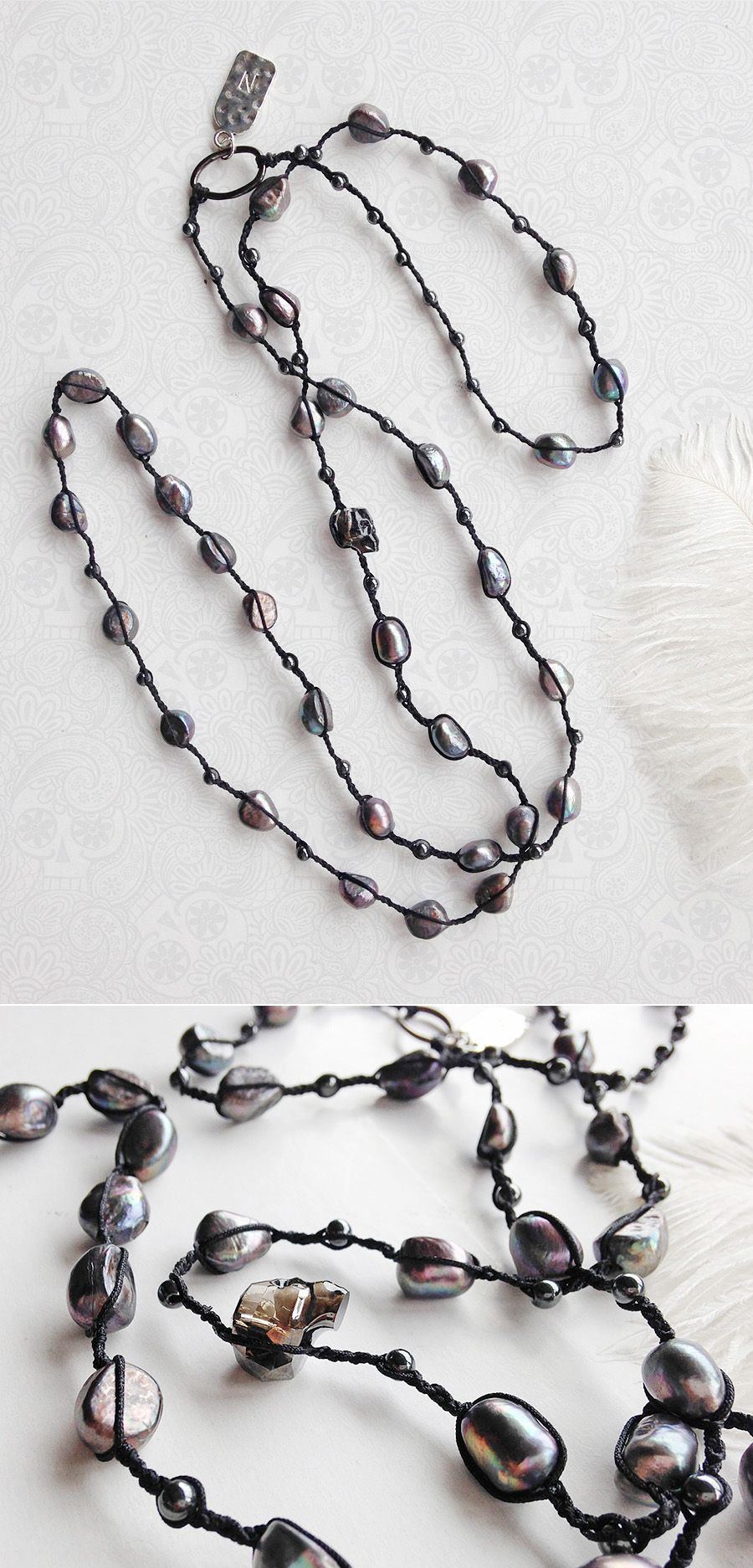 necklaces pearl beaded pearls irregularly bead long black braided pin necklace shaped