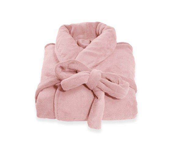Flauschiger Bademantel aus 100% Polyester Rosa in den Größen XS, S, M und L. Der Mantel ist bis 60°C maschinenwaschbar.