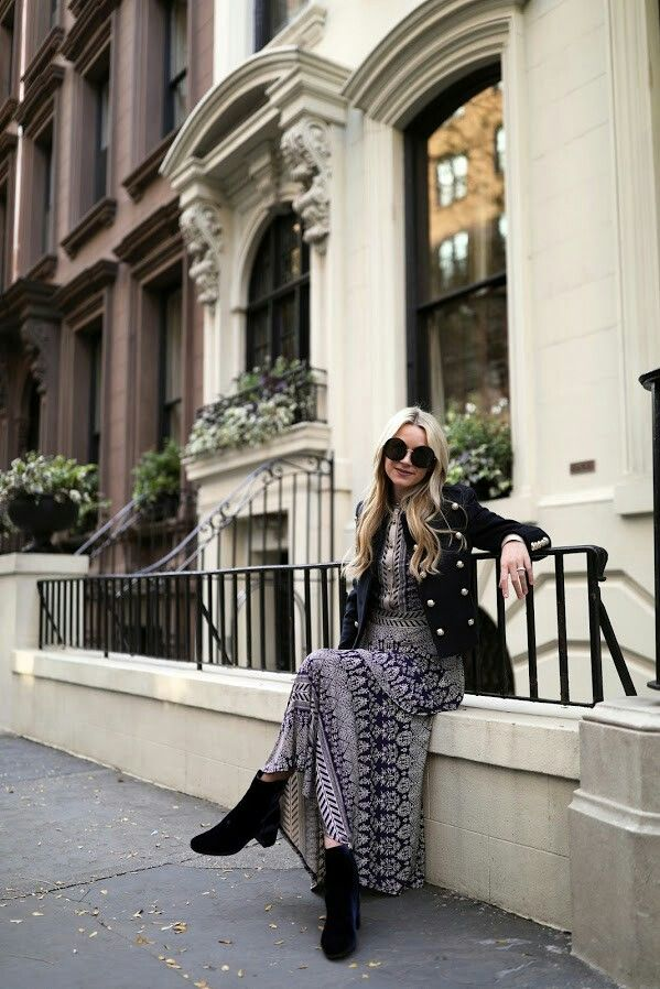 Dress: Tory Burch (also love this print in this top and this dress). Velvet Booties: M.Gemi. Jacket (also love this military jacket). Sunglasses: Linda Farrow.