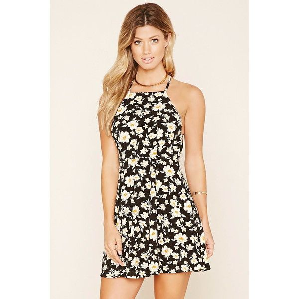 Forever 21 Women's  Strappy Floral Skater Dress ($23) ❤ liked on Polyvore featuring dresses, strappy dress, cami dress, camisole dress, floral cami and square neck dress