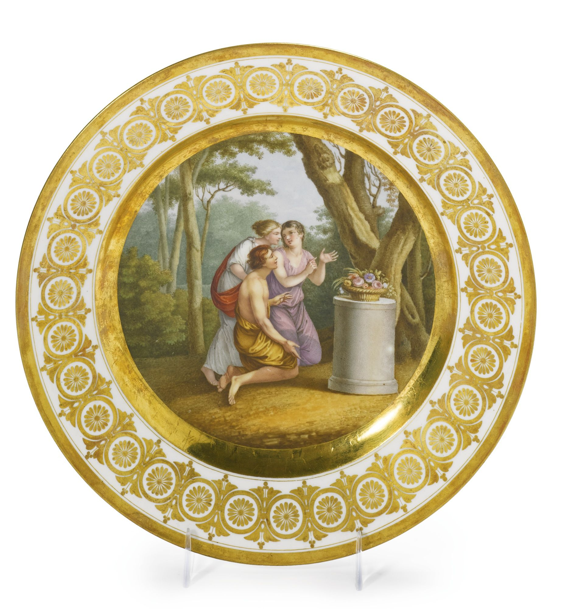 A Russian porcelain dessert plate, Imperial Porcelain Manufactory, St. Petersburg, Period of Alexander I (1801-1825)